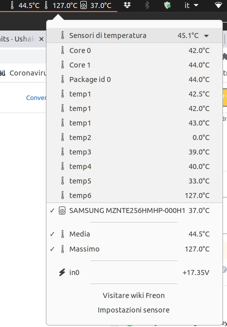 Freon gnome extension